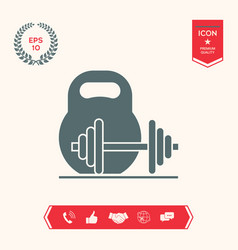 kettlebell and barbell icon vector image