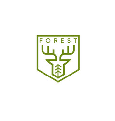 Line art crest with deer and tree vector