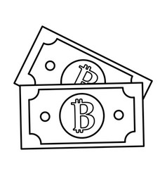 Line digital bitcoin bills and electronic vector