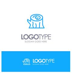 Log wood wooden spring blue outline logo with vector