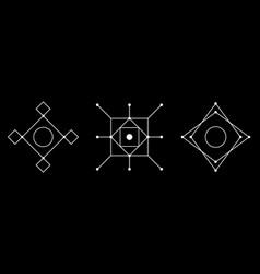 magic rectangular geometry white symbol set vector image
