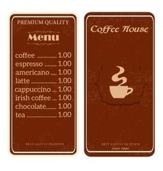 menu for coffee shop restaurant vector image