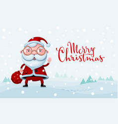 Merry christmas cartoon santa claus standing with vector