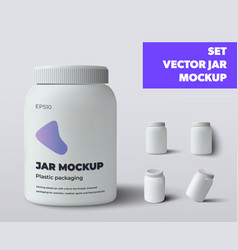 Mockup plastic jar with lid isolated on vector