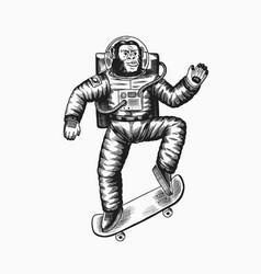 Monkey astronaut rides a skateboard chimpanzee vector