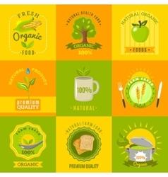 Natural food emblems flat icons set vector image