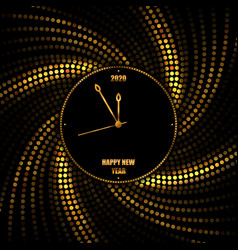 new year 2020 golden background with clock vector image