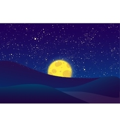 Night moon shining stars on dark blue sky vector image