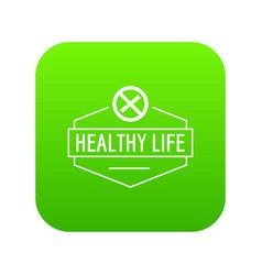 no smoking icon green vector image
