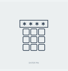 Outline icon secure pin enter vector