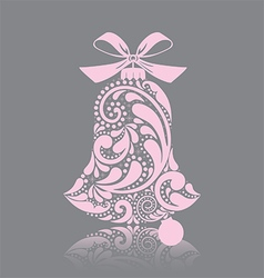 Pink christmas bell vector image