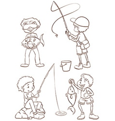 Plain sketches of the boys fishing vector image