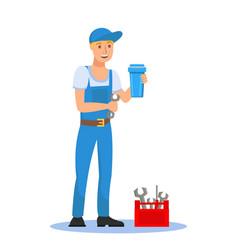 plumber holding filter cartridge cartoon character vector image