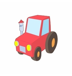 Red tractor icon in cartoon style vector