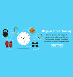 Regular fitness training banner horizontal concept vector