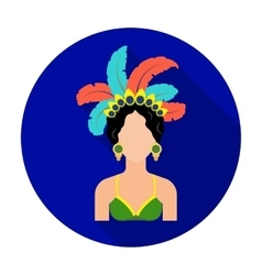 Samba dancer icon in flat style isolated on white vector image