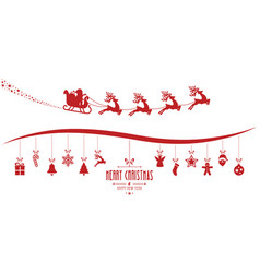 Santa claus sleigh christmas elements hanging red vector