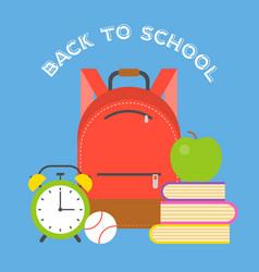 school bag icon and school supplies flat design vector image