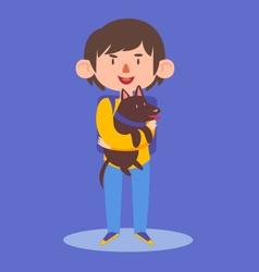 School Boy Holding his Dog vector image