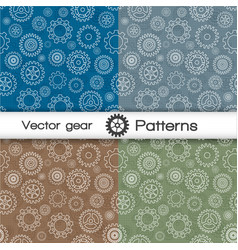 Seamless pattern set with gears vector