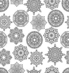 Seamless pattern with mandala monochrom vector
