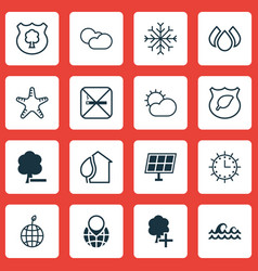 set of 16 eco icons includes timber cigarette vector image