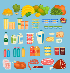 set of daily food products in flat design vector image