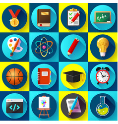 set of flat school and education icons vector image