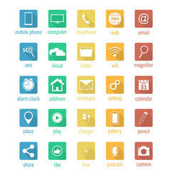 set of flat square icons vector image