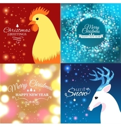 Set of Merry Christmas postcard with designed text vector image