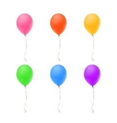 Set of six colorful balloons vector