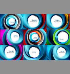 set of spiral swirl line backgrounds vector image