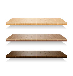 set of wood shelves on white background vector image