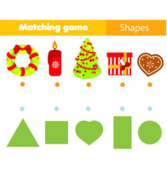 Shape matching game kids activity with christmas vector