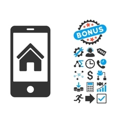 Smartphone Homepage Flat Icon with Bonus vector image