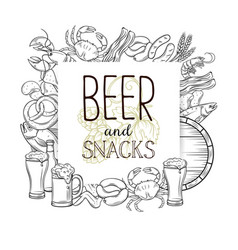 snacks and beer vector image