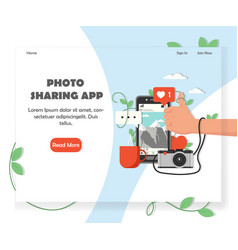 social photo sharing service website design vector image