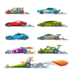 sport racing cars collection side view fast vector image