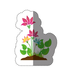 sticker colorful silhouette with plant with vector image