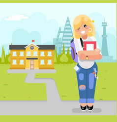student cute girl young modern fashion book goes vector image