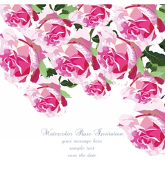 Watercolor Pink Rose flowers card vector