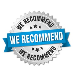 We recommend 3d silver badge with blue ribbon vector