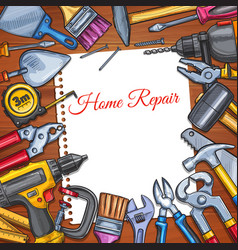 Work tools home repair sketch poster vector