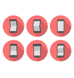 Curve smartphone flat icons vector image