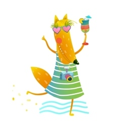 Funky Party Cocktail Fox Wearing Dress with Camera vector image