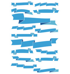 set of fifteen blue cartoon ribbons and banners vector image