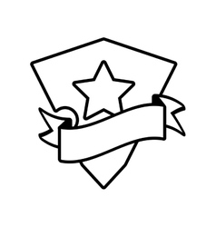 Shield star stamp outline empty vector