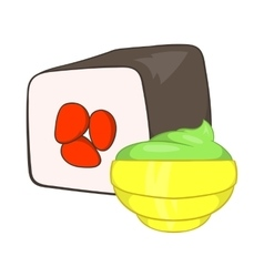 Sushi roll and wasabi icon cartoon style vector image