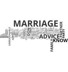 Which marriage advice should you listen to text vector