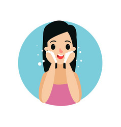 brunette girl cleaning her face with foam woman vector image